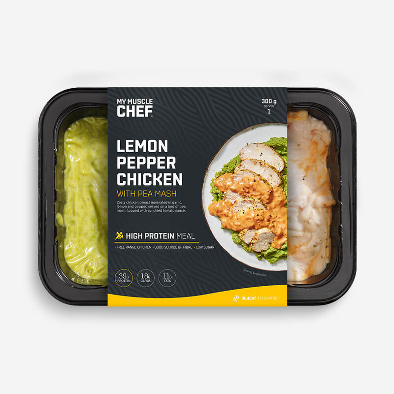 Lemon Pepper Chicken With Pea Mash image number null