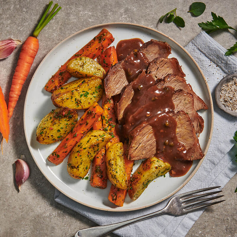 Peppercorn Steak with Chimichurri Roast Vegetables