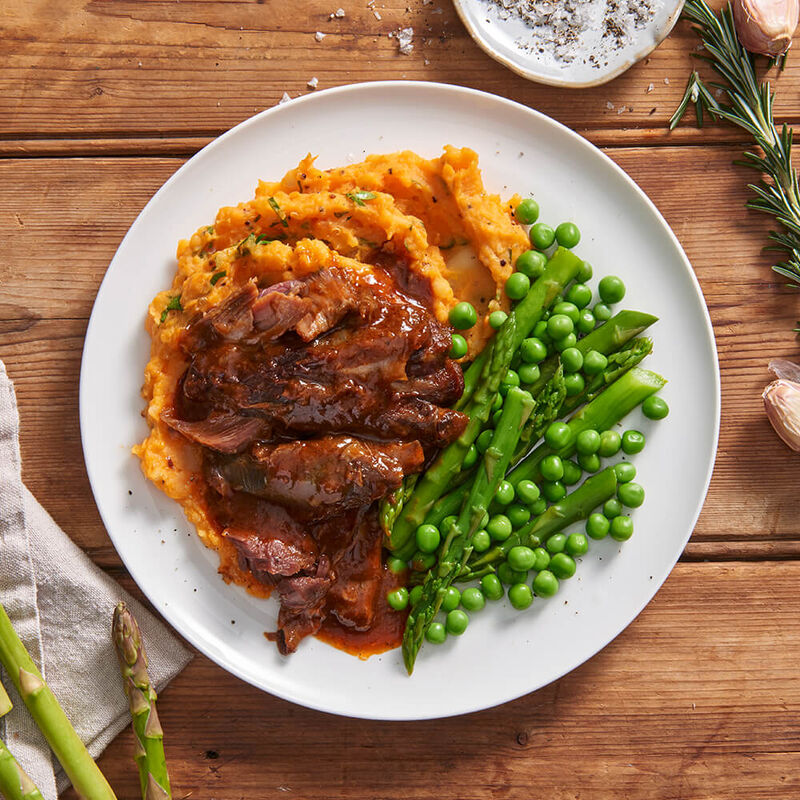 Lamb Shanks with Sweet Potato Mash & Greens