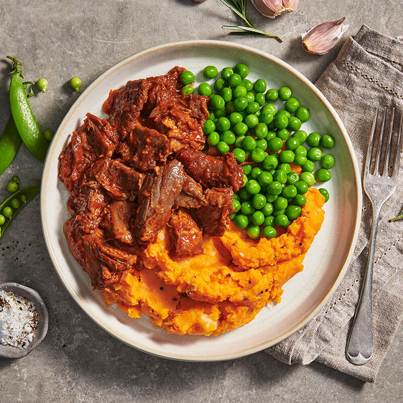 Lamb Shanks with Sweet Potato Mash & Peas image number null