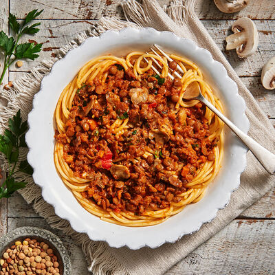 Wholemeal Spaghetti with Lentil Bolognese