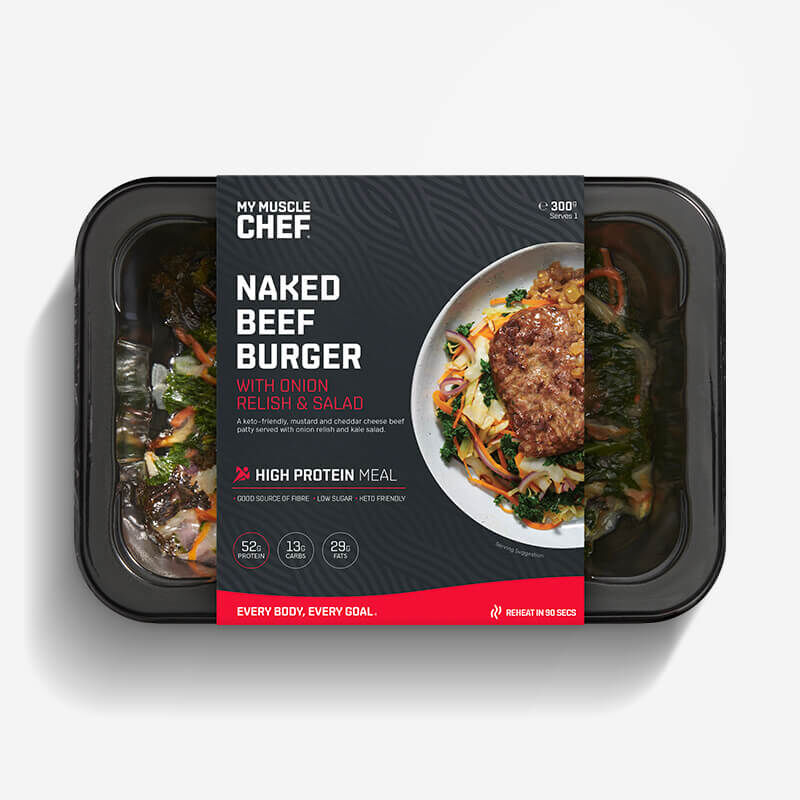 Naked Beef Burger with Onion Relish & Salad image number null