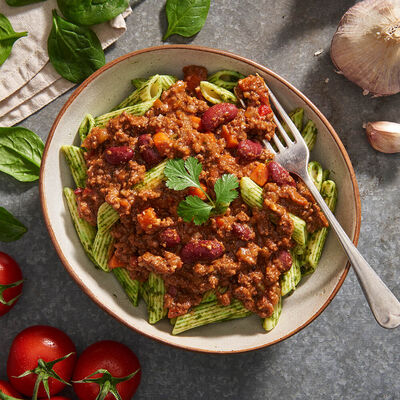 Roo Chilli Con Carne with Green Penne