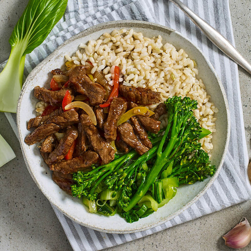 Mongolian Beef with Asian Greens & Brown Rice