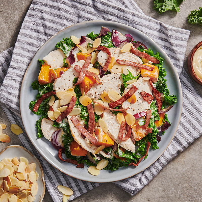 The Clean Chicken Caesar with Almonds, Beef Rashers