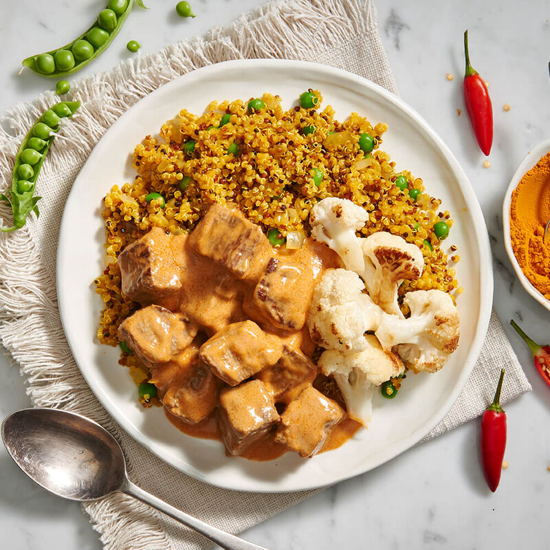 Red Thai Curry Beef with Cauliflower & Turmeric Quinoa