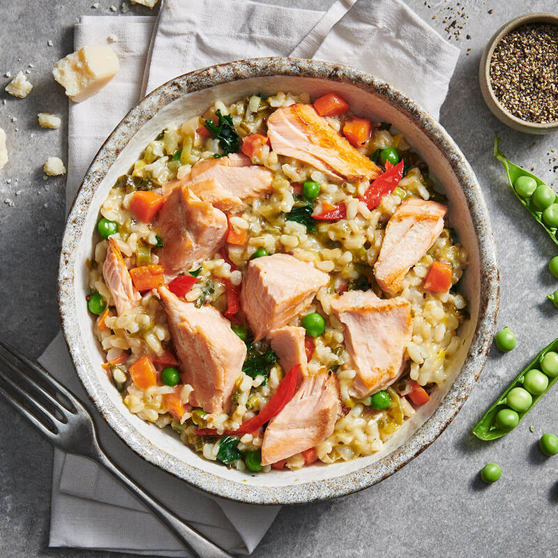 Salmon Risotto With Brown Rice & Spring Vegetables image number null