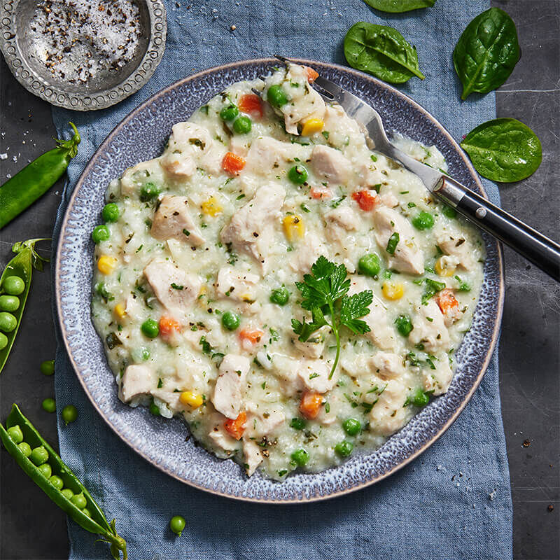 Garlic & Herb Chicken With Vegetable Risotto image number null