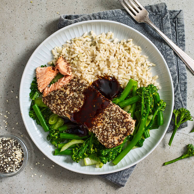 Chia Crusted Salmon with Soy Glaze, Broccolini & Rice image number null