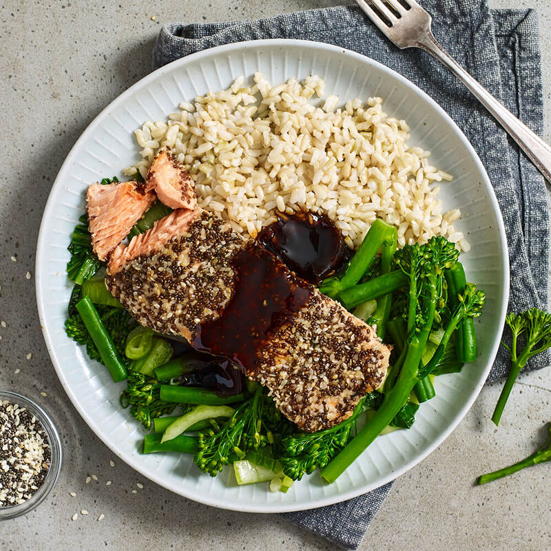 Chia Crusted Salmon with Soy Glaze, Broccolini & Rice