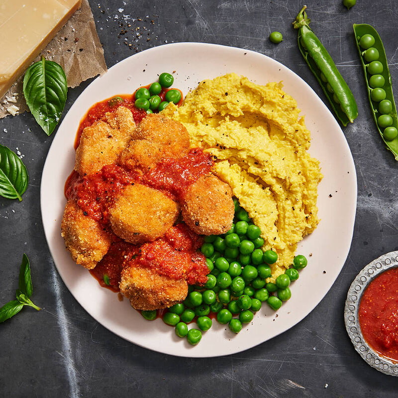Crumbed Chicken with Corn Mash & Green Peas image number null