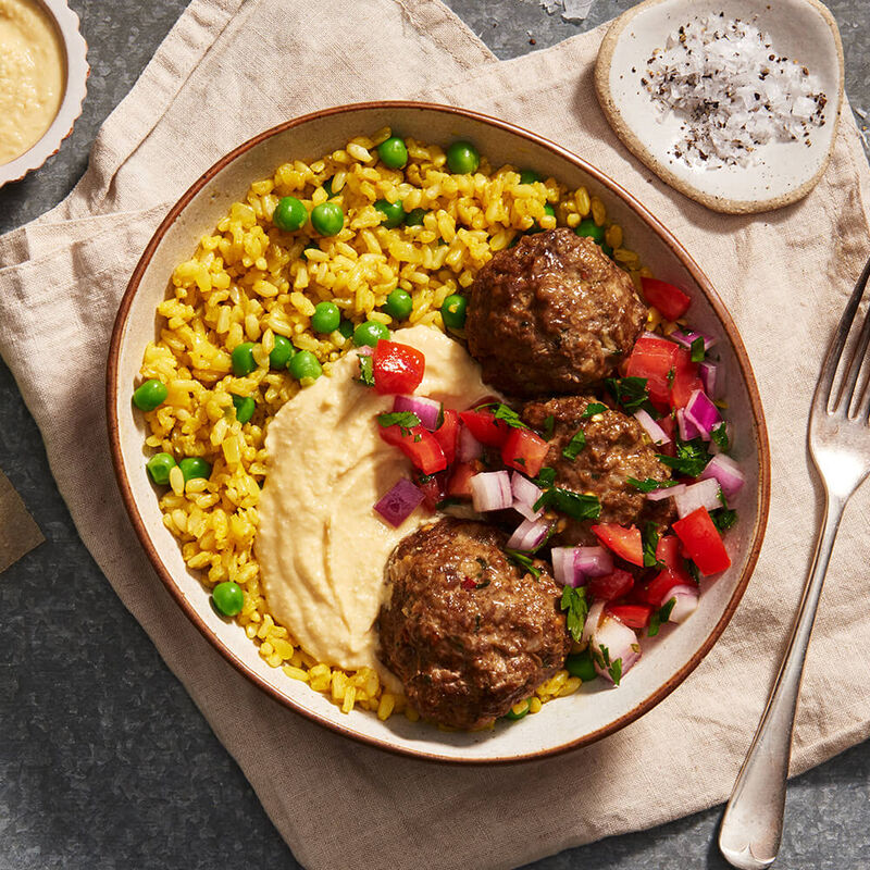 Middle Eastern Meatballs with Turmeric Brown Rice