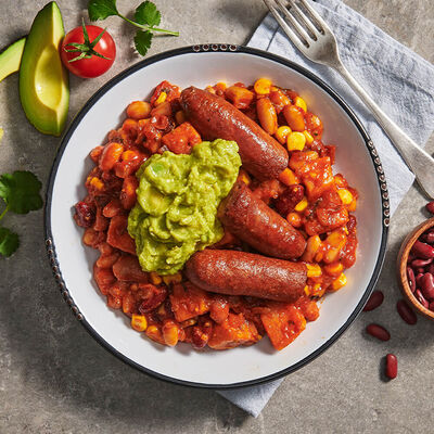 Breakfast Burrito Bowl with Avocado & Lamb Sausages