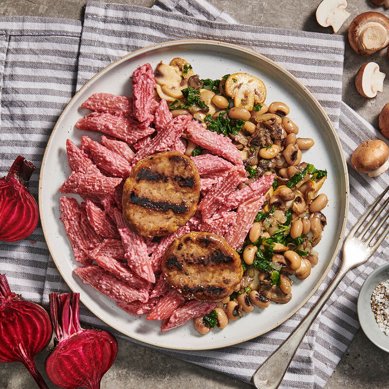 Mushroom Steaks with Beetroot & Lentil Pasta
