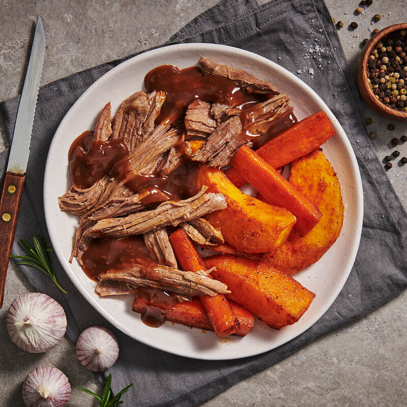 Pulled Roast Beef with Pumpkin & Sweet Potato image number null