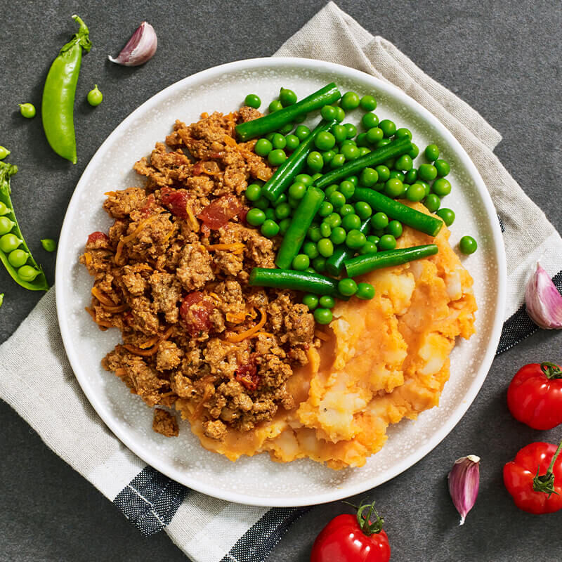 Vegan Cottage Pie with Sweet Potato Mash & Green Vegetables image number null