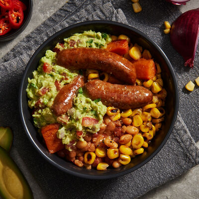 Breakfast Burrito Bowl with Avocado & Beef Sausages