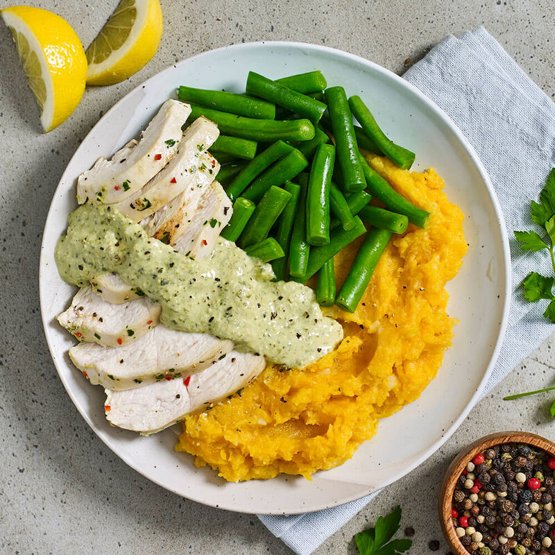Chicken & Chimichurri Mayo with Pumpkin Mash & Green Beans