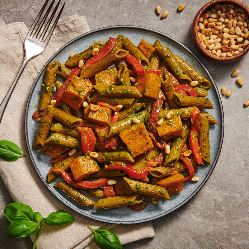 Wholemeal Pesto Pasta with Pumpkin & Sundried Tomato image number null