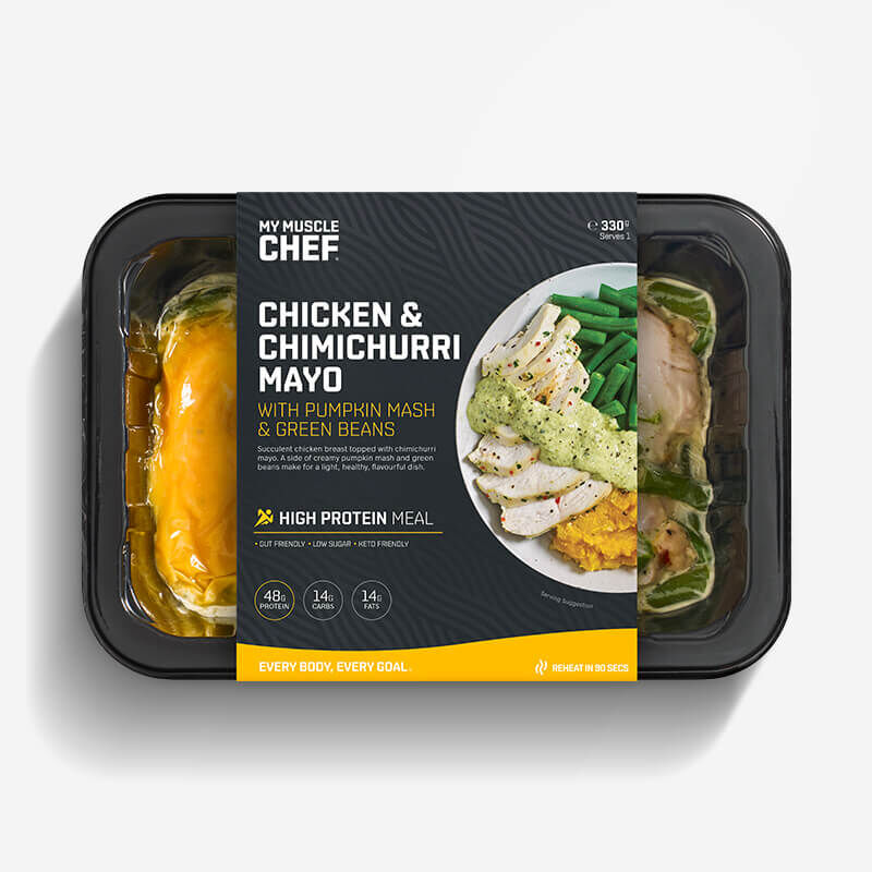 Chicken & Chimichurri Mayo with Pumpkin Mash & Green Beans image number null