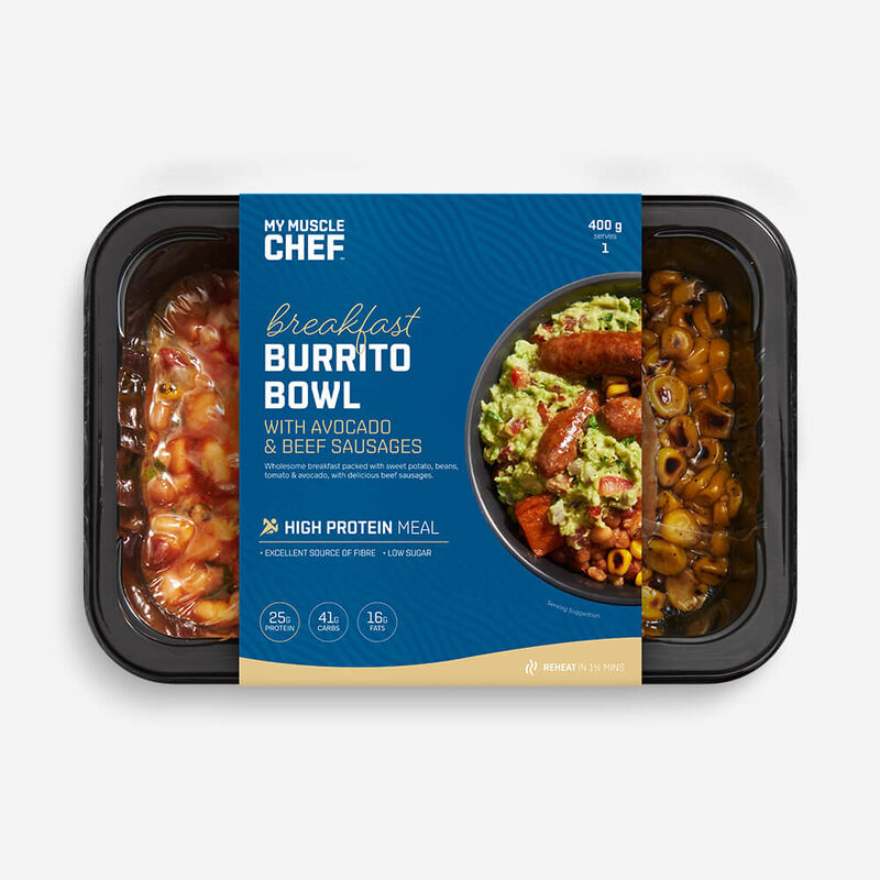 Breakfast Burrito Bowl with Avocado & Beef Sausages image number null