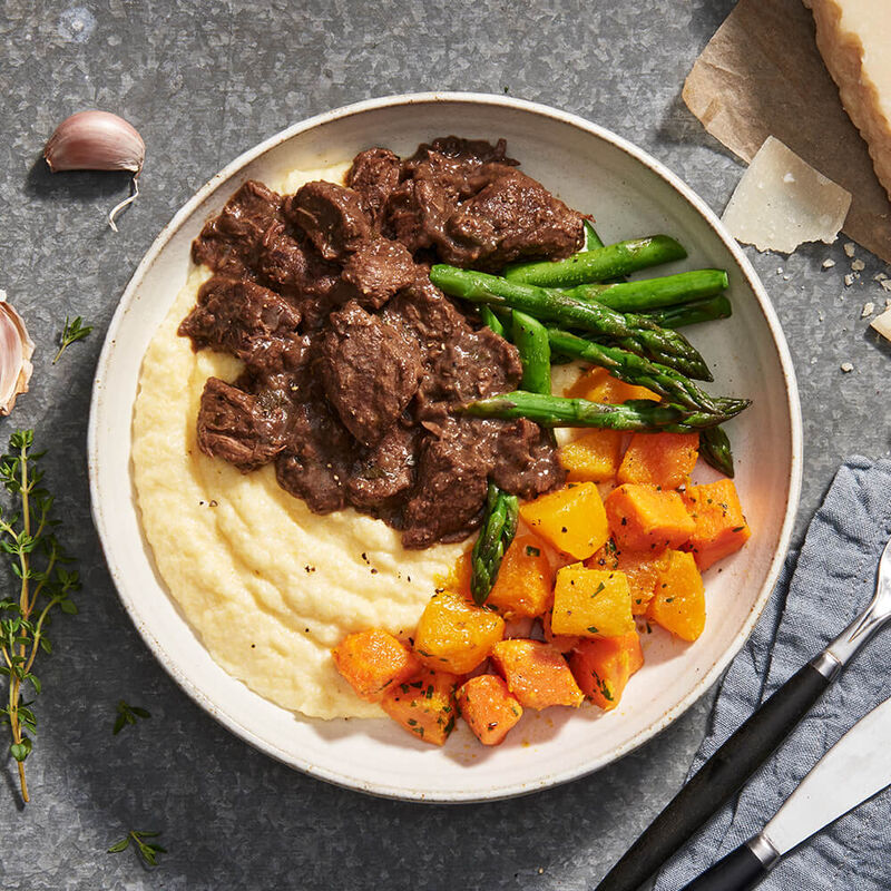 Braised Beef Ragu With Polenta And Roast Vegetables