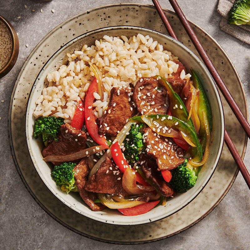 Mongolian Seitan Stirfry With Brown Rice & Vegetables image number null