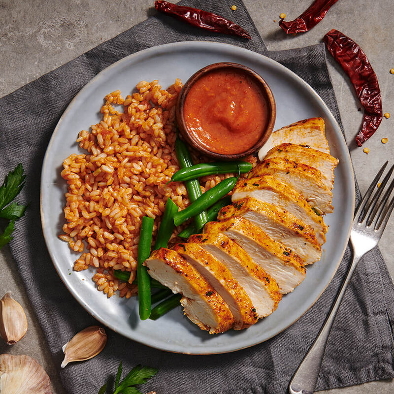 Peri Peri Chicken with Tomato Rice & Green Beans  image number null