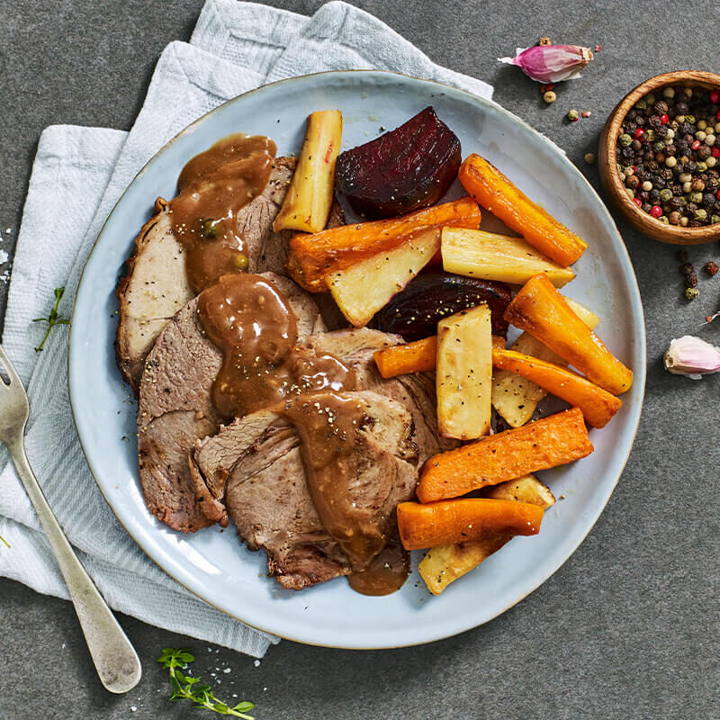 Roast Lamb with Root Vegetables & Diane Sauce