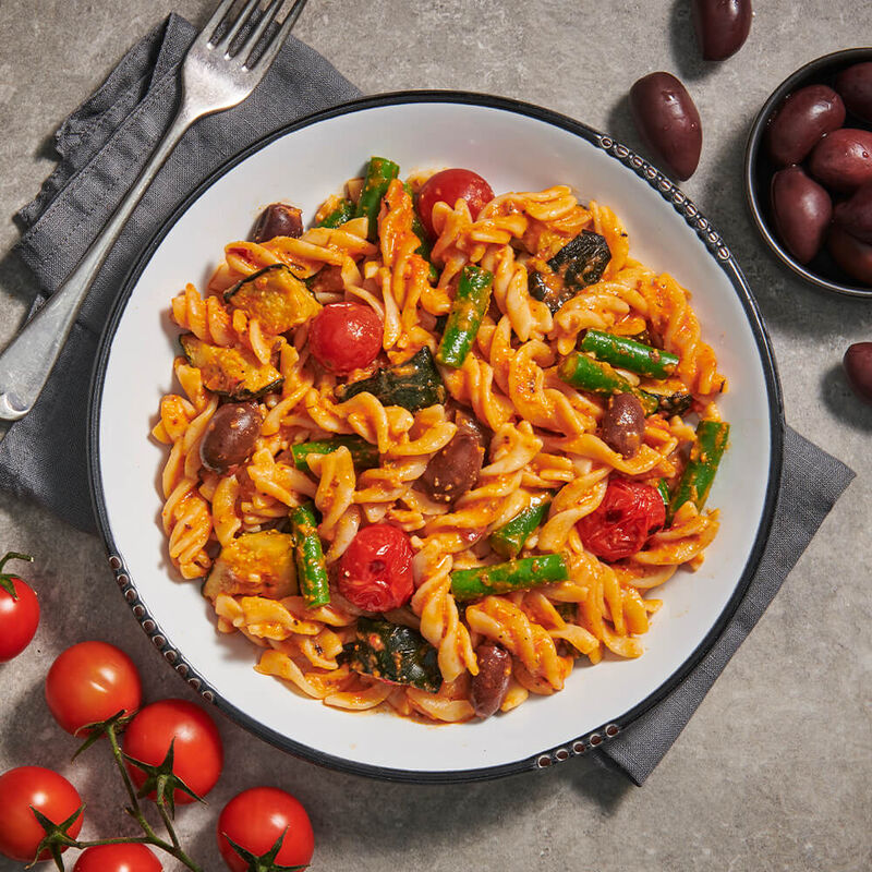 Red Pesto Pasta with Hemp Seeds & Vegetables image number null