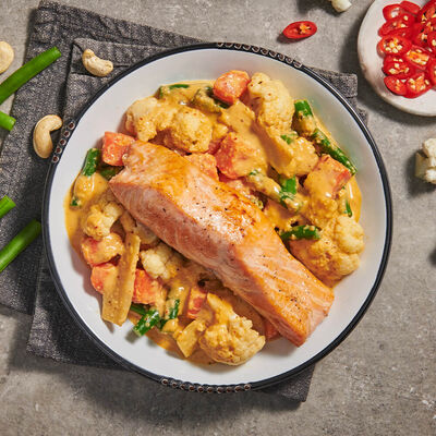 Red Curry Salmon with Cauliflower & Cashews