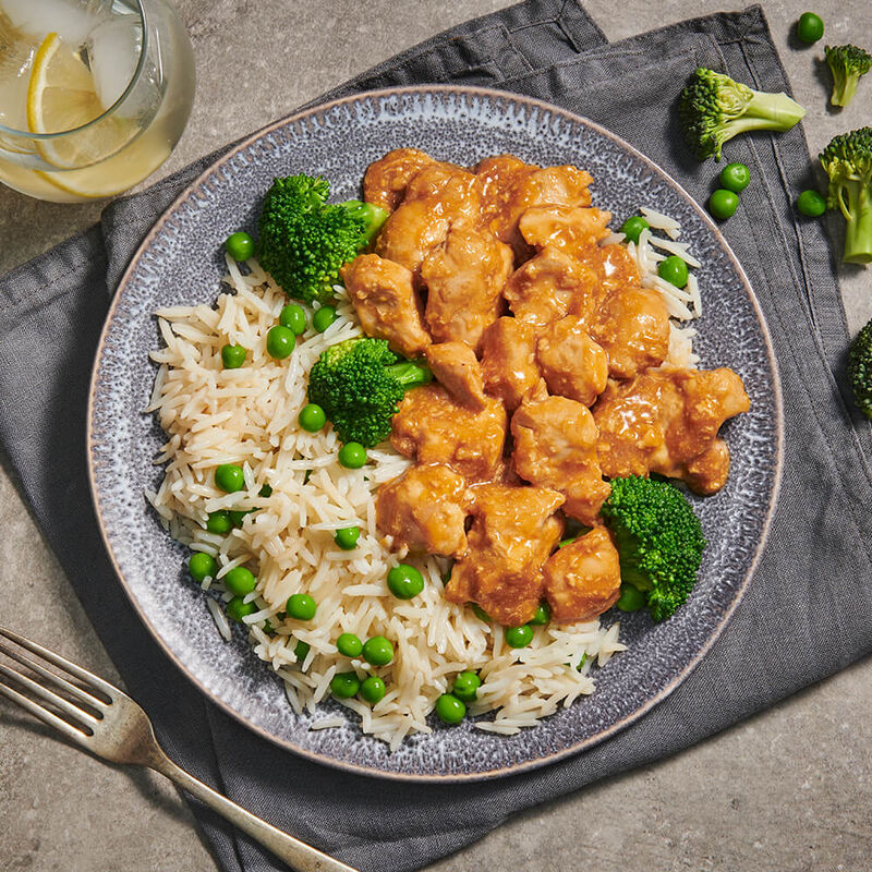 Orange Glazed Chicken with Basmati Rice & Green Vegetables image number null