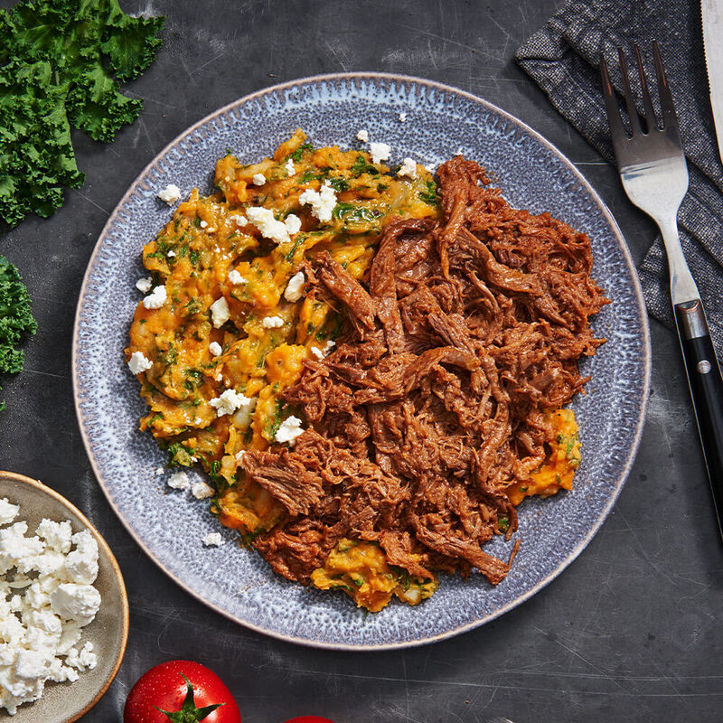 Smokey BBQ Brisket With Sweet Potato, Kale & Feta Mash