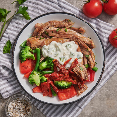 Greek Spiced Lamb with Vegetables and Tzatziki