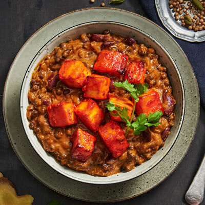 Grilled Cottage Cheese with Black Lentil Stew