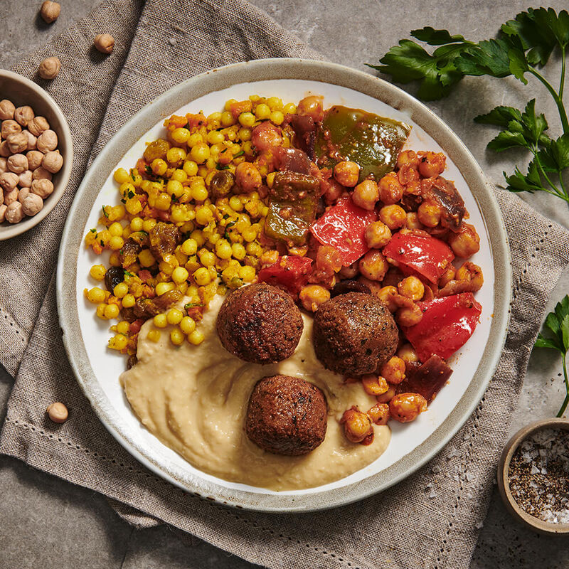 Falafel & Chickpeas with Couscous and Tahini Sauce