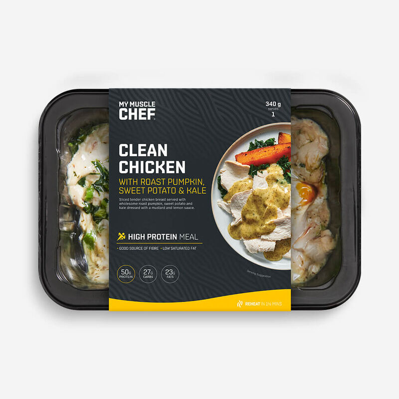 Clean Chicken with Roast Pumpkin, Sweet Potato & Kale image number null