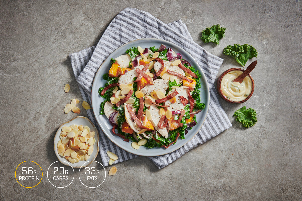 My Muscle Chef meals | The Clean Chicken Caesar with Almonds, Beef Rashers